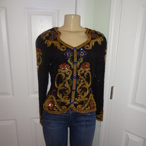 Black and Gold Sheer Sleeve Sequins Blouse Size 8!!