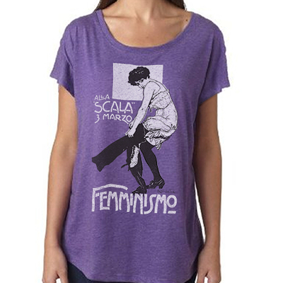 "Feminist tshirt: ""be the pants"" historical italian suffrage rally shirt by fourth wave feminist apparel (vintage style, purple)"