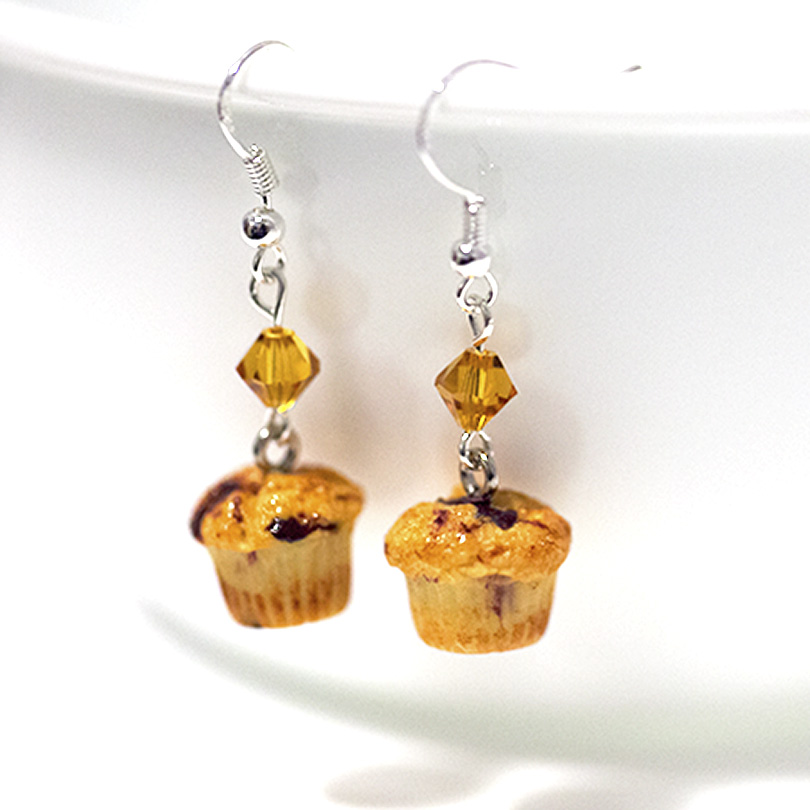 blueberry stud earrings bbmuffin dangle muffins miniature original food products kawaii