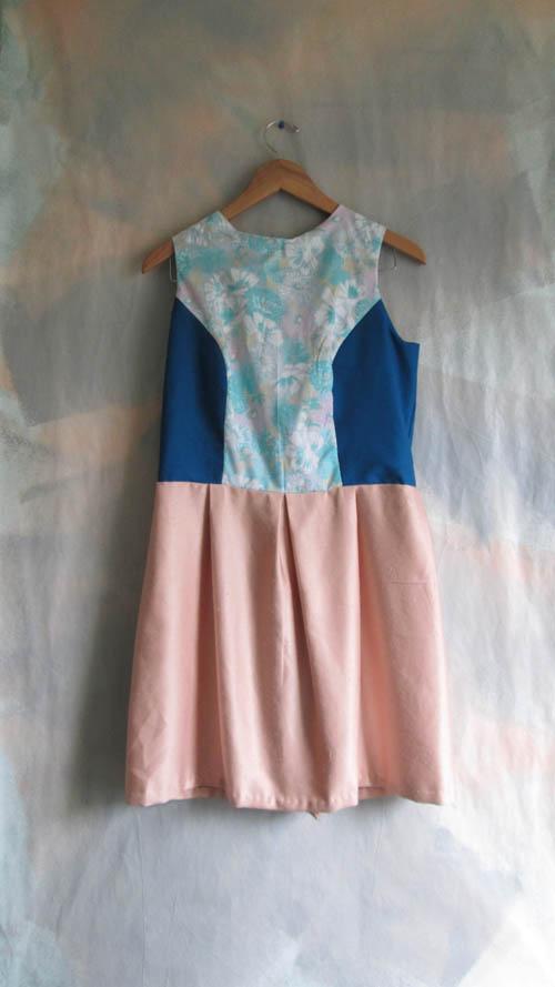Floral, Aqua and Satin Pink Dress w/ Buttons
