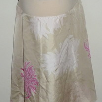 Light Tan Silk Skirt With Pink Flowers-Liz Lange Maternity Size XXL  SF0413