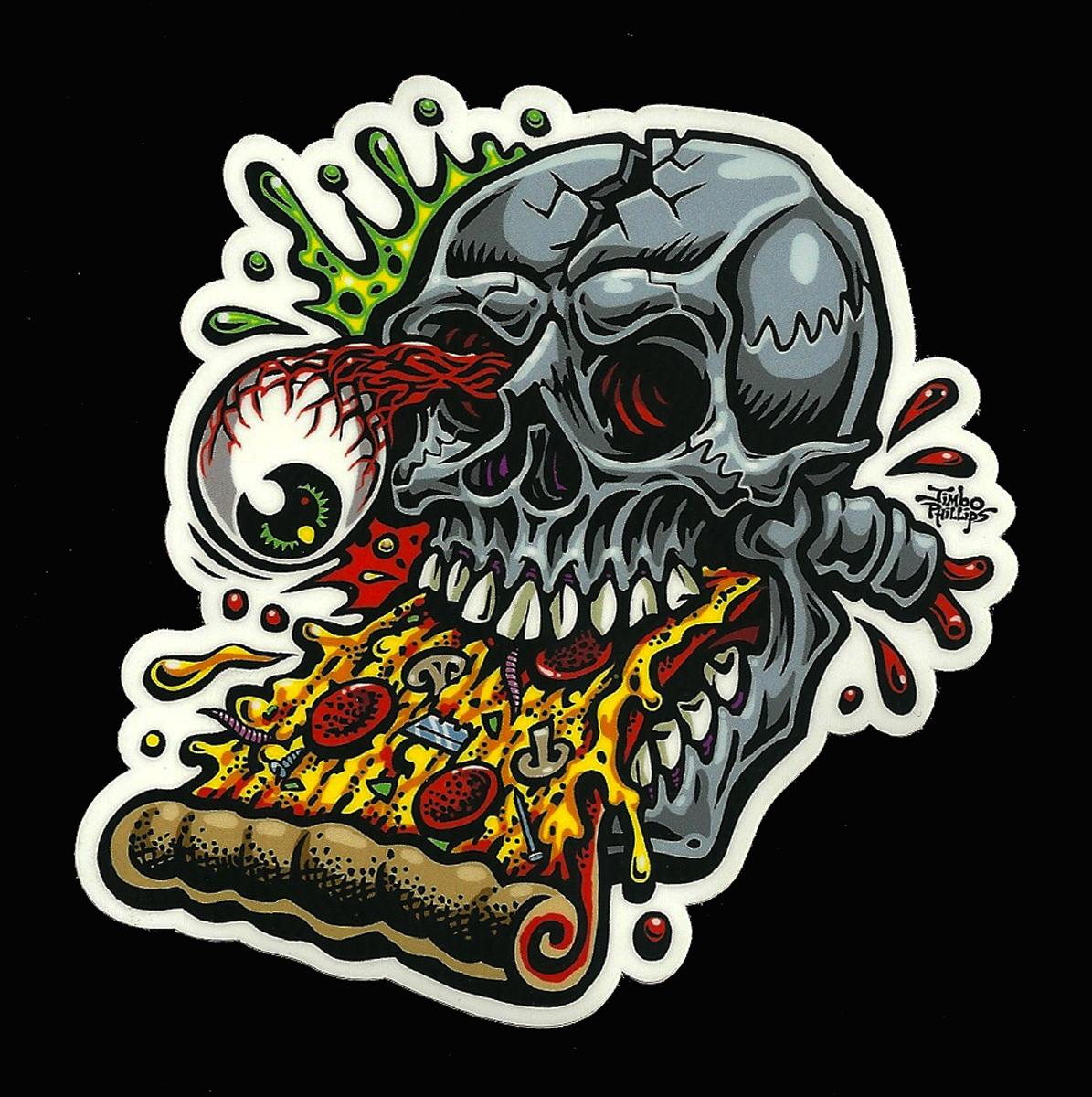pizza skull full color shaped vinyl sticker