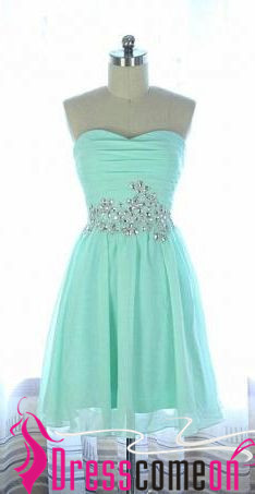 Mint Short Prom Dress 2016 A Line Chiffon Silver Beads