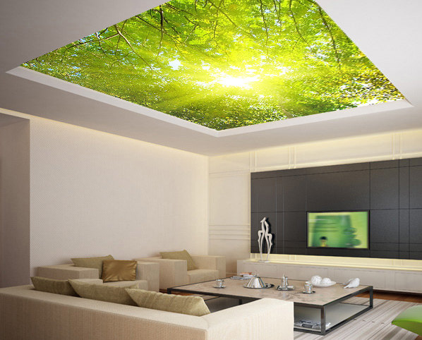 Ceiling sticker mural leaves trees spring forest airly air for Ceiling mural in a smoker s lounge