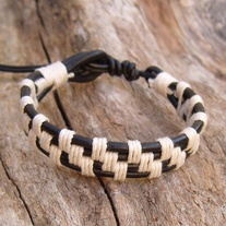 Black Leather Bracelet with White Hemp
