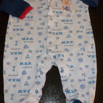 Blue Baseball Sleeper-Bon Bebe Size 3-6 Months  GS413