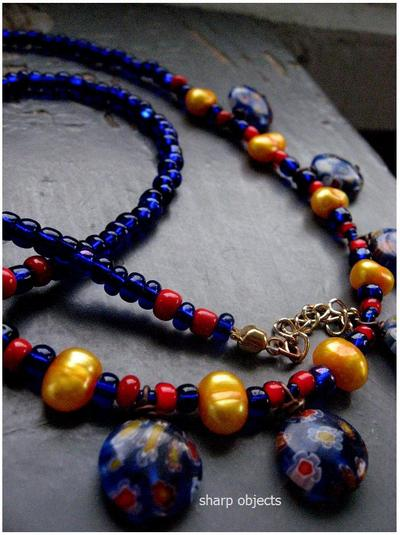 Water & blossoms - freshwater pearl & cobalt millifiore floral glass necklace