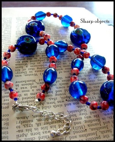 Cobalt brick - chunky handmade glass beaded necklace