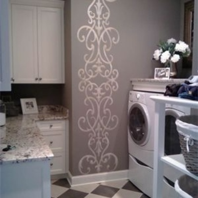 Wall stencil damask scroll large allover pattern wall room decor made by omg stencils home improvements color paintings 0277