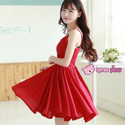 S/m/l retro red sleeveless dress sp151956