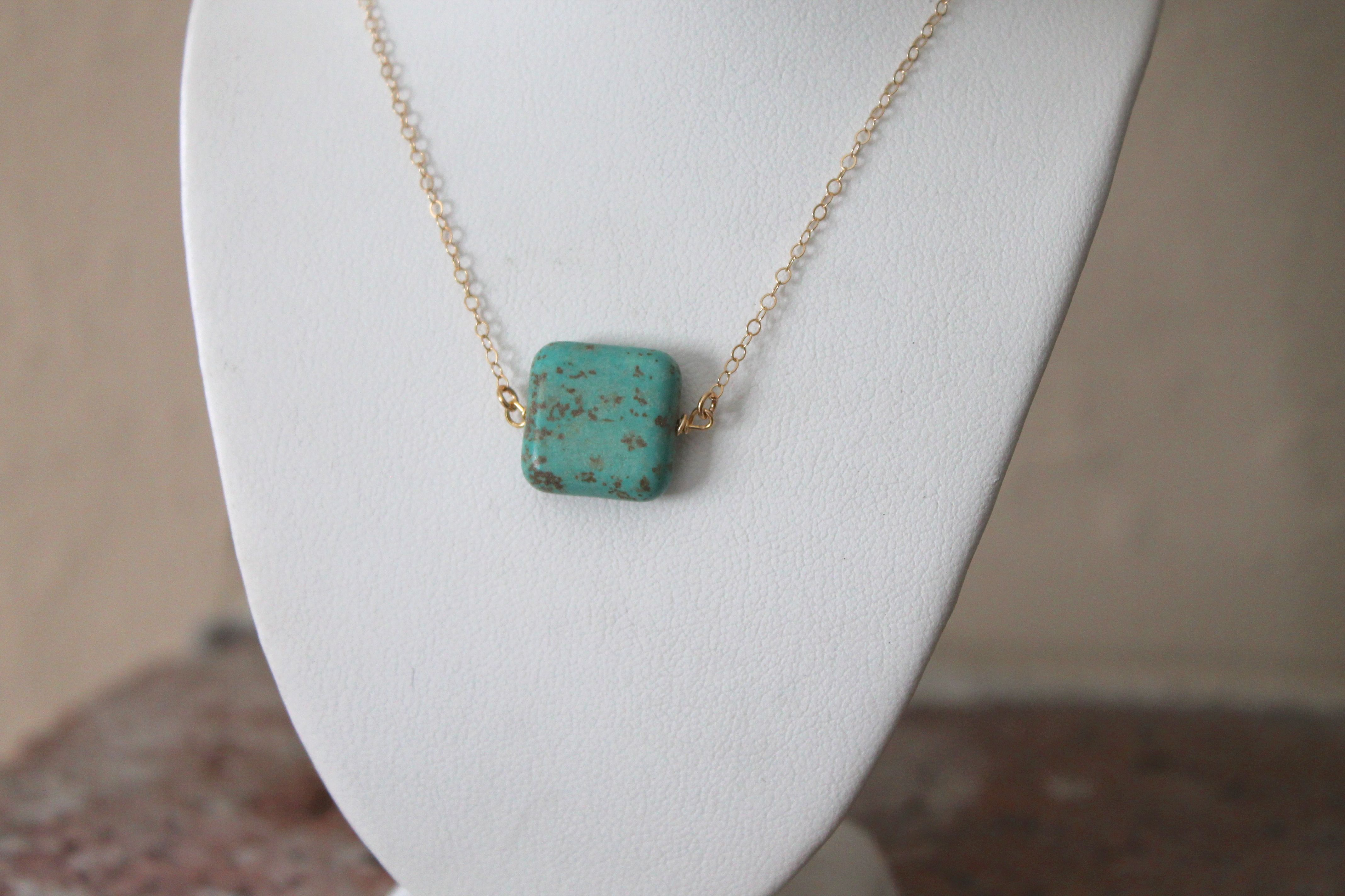 Turquoise Square Pendant Necklace Lucymint Online Store Powered