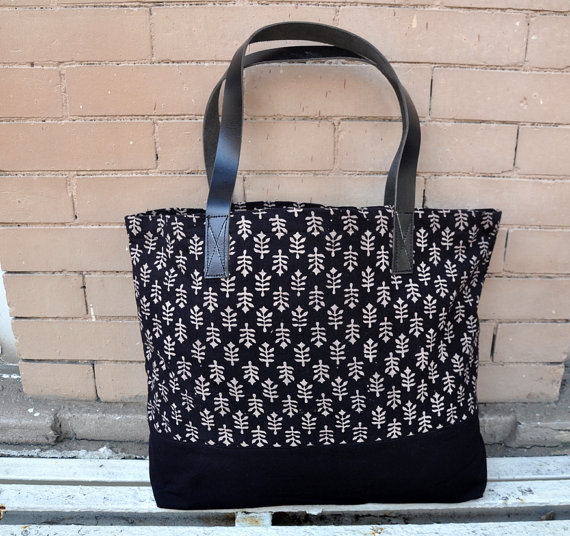 Black floral print Canvas Tote Bag with leather straps -Beach Bag ...