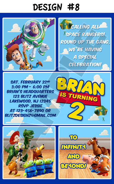 Toy Story 1 2 3 Birthday Party Photo Invitations