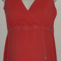 Pink Sleeveless Top with Brown Beads-Motherhood Maternity Size Large  CL413