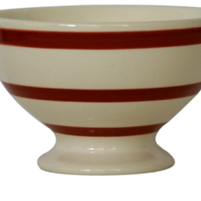 Campagne red bistro white stripes bowl 3 wick candle