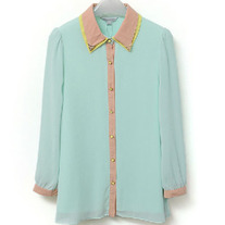 Green Color block chiffon blouse