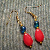 Teal & Red Earrings