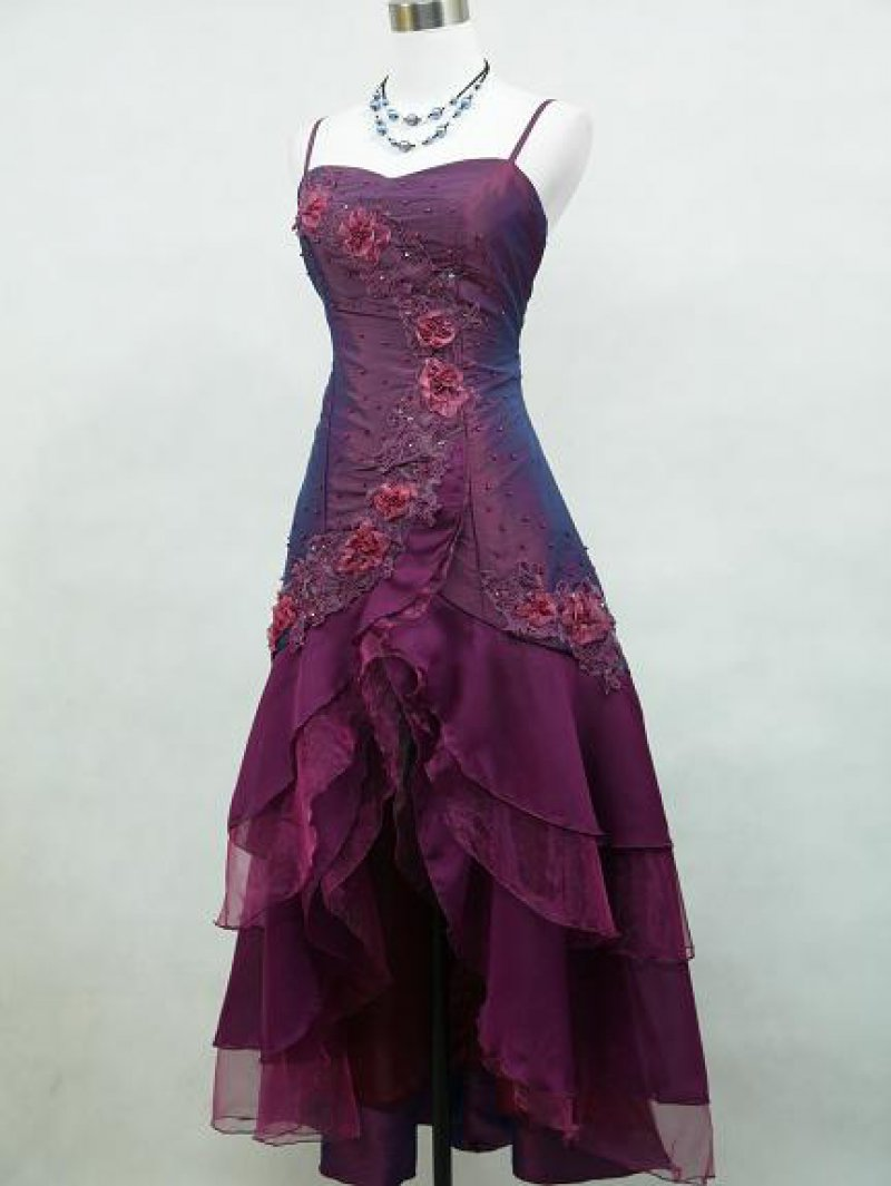 Plus Size Satin Dark Purple Lace Rose Appliques Bridesmaid Dress from Curvy  Brides