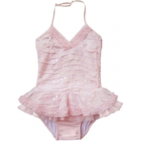 Isobella & Chloe Celeste Light Pink Halter 1pc Swimsuit