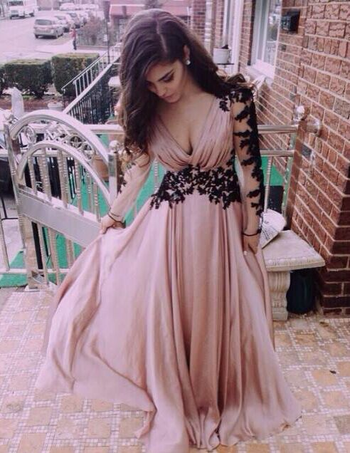 long prom dress, black lace prom dress, chiffon prom dress, long ...