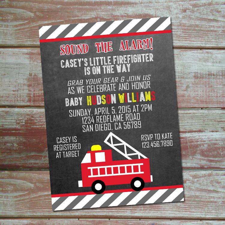 Fire truck Baby Shower Invitation on Storenvy