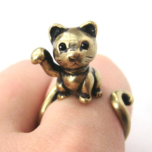 Miniature Fortune Kitty Cat Animal Hug Wrap Ring in Bronze - Sizes 4 to 9