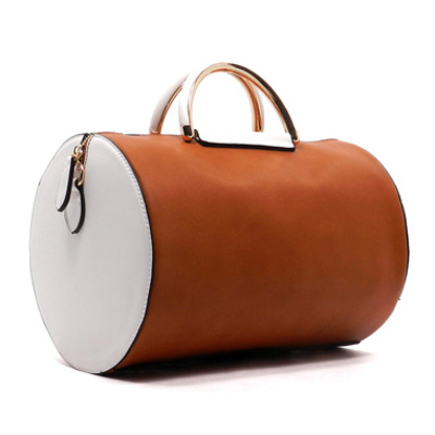 Colorblock top handle cylinder tote