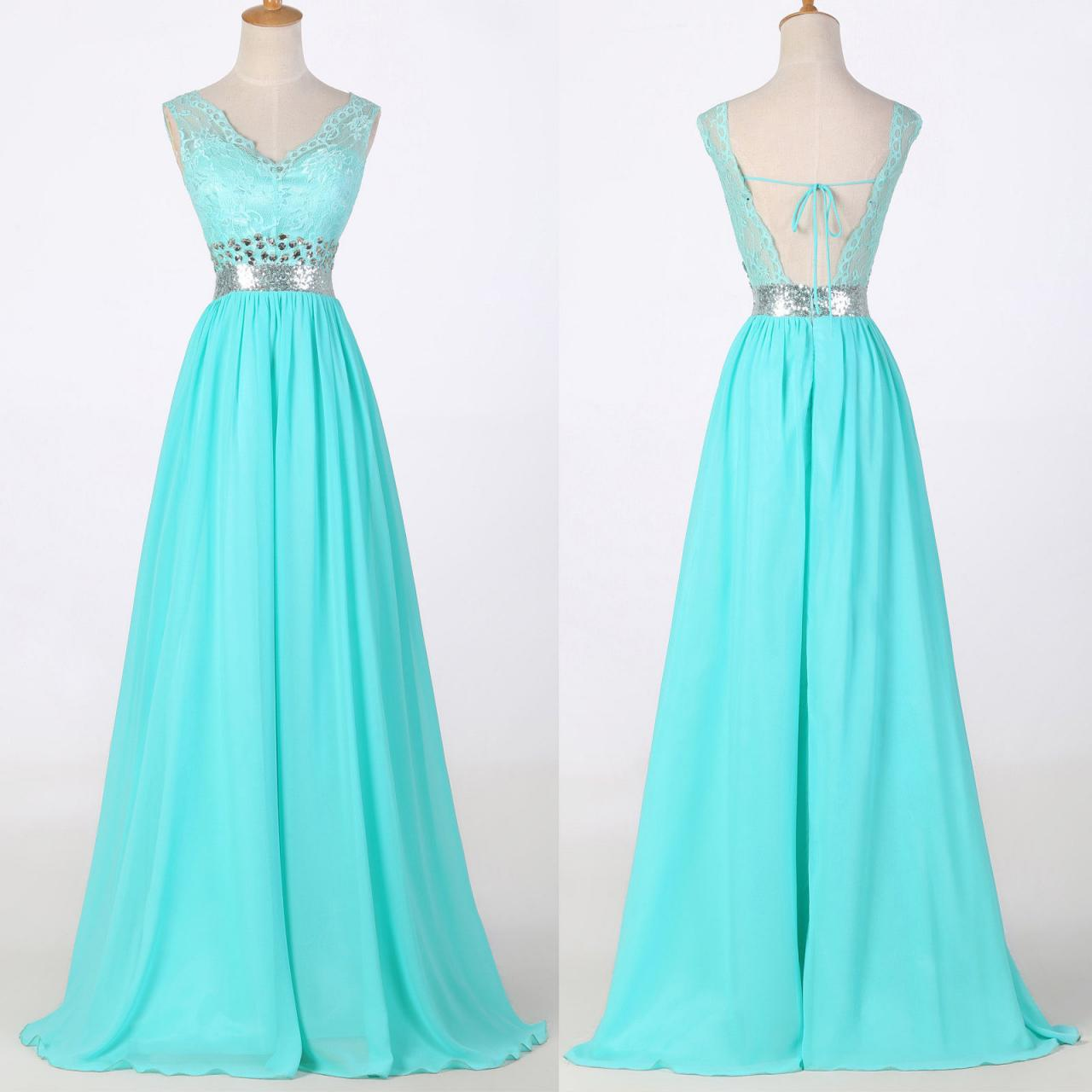 Elegant Plus Size Long Prom Dresses,V-Neck Evening Gowns,Backless ...