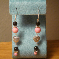 Black & Pink Sandstone Dangle Earrings with Tibetan Silver
