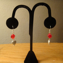 Red Earrings with Tibetian Silver Heart Charm