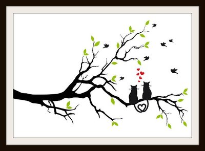 Cats in Love On a Branch Cross Stitch
