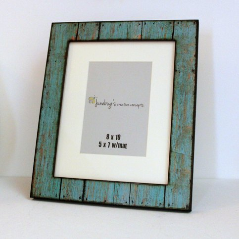 8x10 5x7 Wood Photo Frame Weathered Rustic Turquoise On