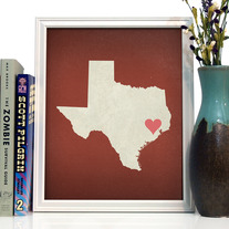 Image of Texas State LOVE, Giclee Art Print, 8 x 10 inches