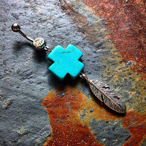 Turquoise Cross Feather Belly Ring