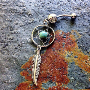 Dream Catcher Feather Belly Ring