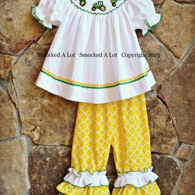 Smocked tractor ruffle pants set- yellow quatrefoil