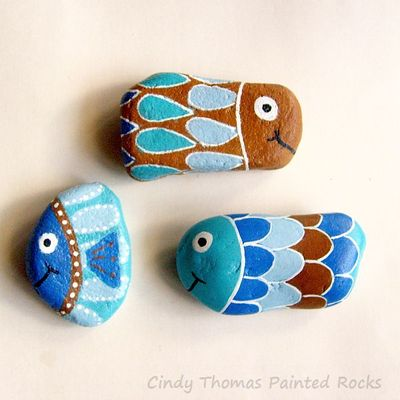 Fish out of water painted rocks (set of 3) - free usa shipping