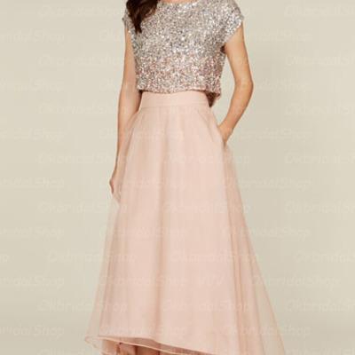 Pink Sequin Bridesmaid Dress