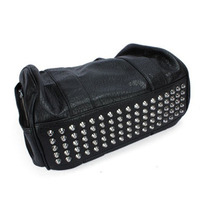 Black Shoulder Bag with Studded Bottom