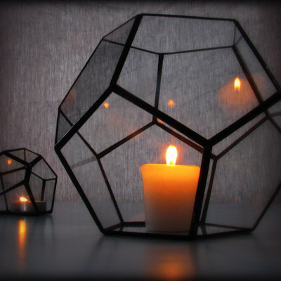 Hurricane Lantern / Glass Candle Holder / Geometric Lighting / Dodecahedron  Terrarium / Minimalist Decor · Lonesome Hobo Glass · Online Store Powered  By ...