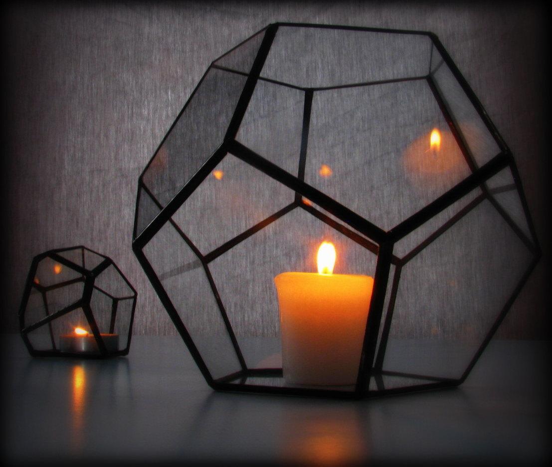 Hurricane Lantern / Glass Candle Holder / Geometric Lighting / Dodecahedron Terrarium / Minimalist Decor & Hurricane Lantern / Glass Candle Holder / Geometric Lighting ... azcodes.com