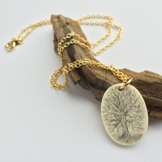 scrimshaw old oak tree mammoth ivory necklace