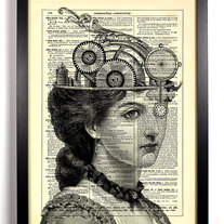 Image of The Steampunk Queen, Vintage Dictionary Print, 8 x 10