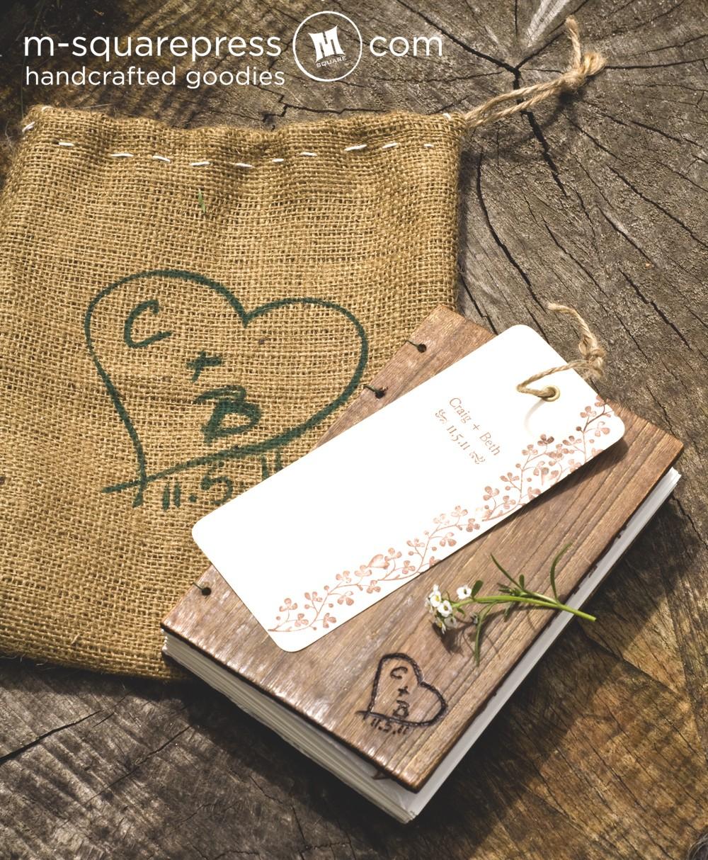 Rustic Wedding Ideas Book Custom Engraving Wooden Coptic Guestbook M Square Press