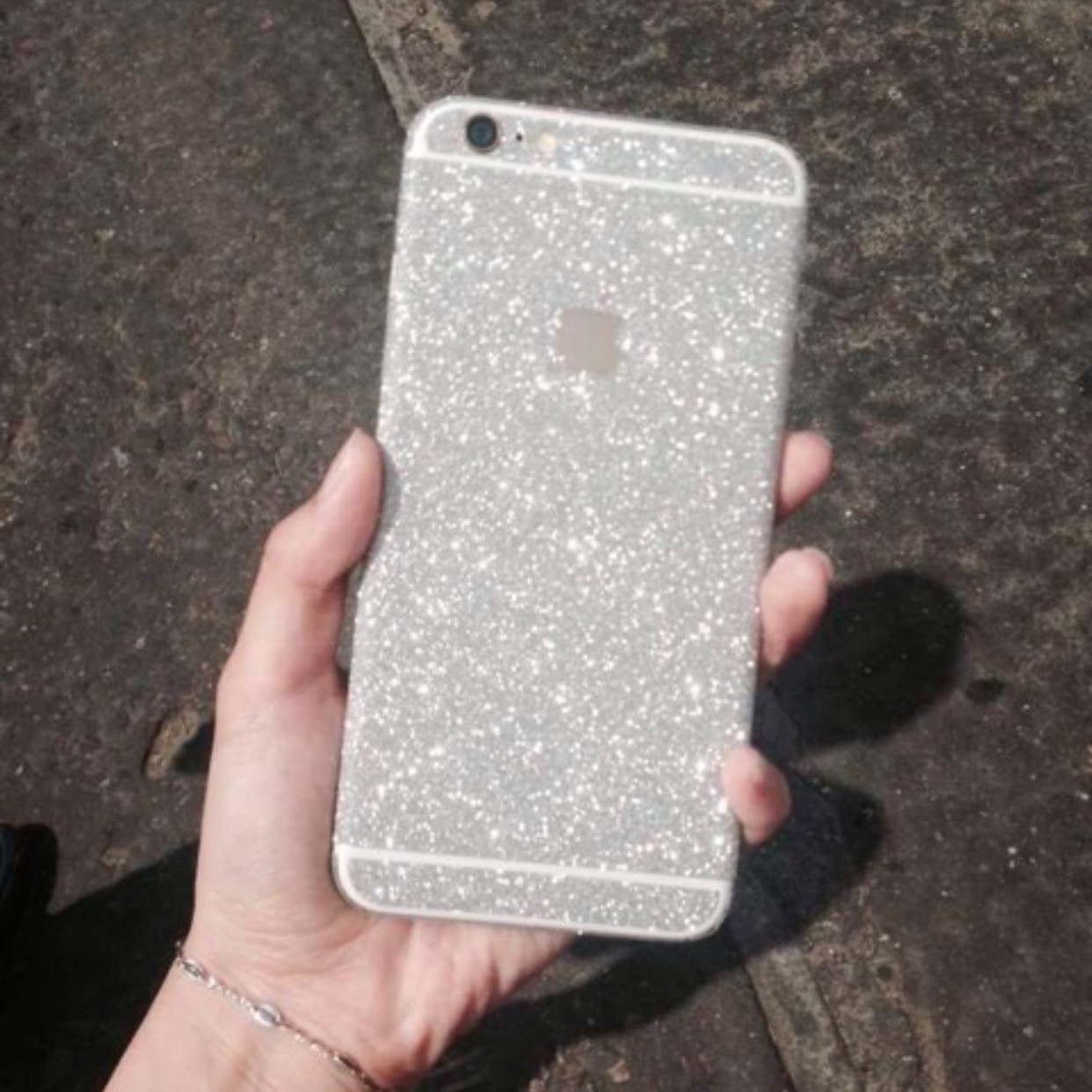 silver glitter sticker skin iphone 6 iphone 6 plus iphone 5 5s luxurious bling online store. Black Bedroom Furniture Sets. Home Design Ideas