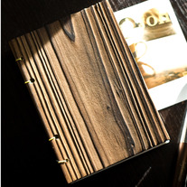 Lettepressed Small Coptic Pine Wood Journal: