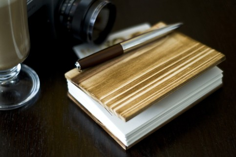 Lettepressed Small Coptic Cedar Wood Journal: