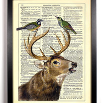 Image of Lover Birds, Vintage Dictionary Print, 8 x 10