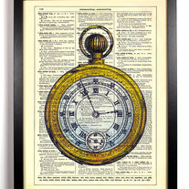 Image of The Golden Pocketwatch, Vintage Dictionary Print, 8 x 10