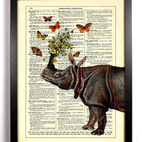 Image of Rhino Holding Flowers With Butterflies, Vintage Dictionary Print, 8 x 10